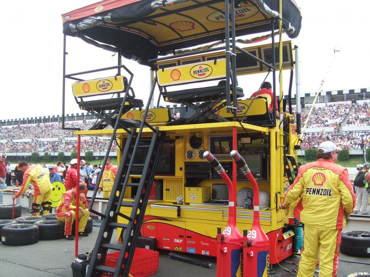 THE VIEW FROM KEVIN HARVICK'S PIT BOX AT POCONO, WHERE DELANA WORE HER FIRESUIT