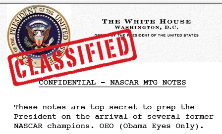 LEAKED OBAMA NOTES FROM NASCAR MTG