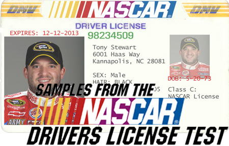 SAMPLE QUESTIONS FROM NASCAR DRIVER'S LICENSE TEST