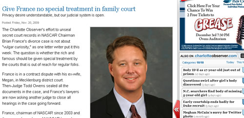 CHARLOTTE OBSERVER SAYS FRANCE SHOULD NOT GET SPECIAL TREATMENT IN FAMILY COURT