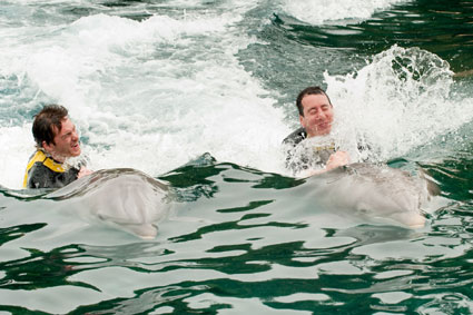 KYLE BUSCH AND SCOTT SPEED SWIM WITH THE DOLPHINS