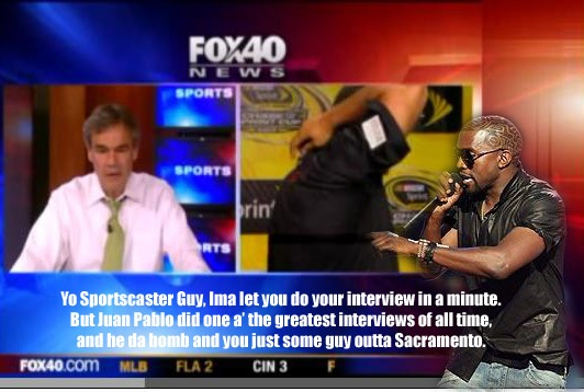 LOLNASCAR: KANYE INTERRUPTS MONTOYA TELEVISION INTERVIEW