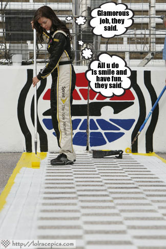 LOL RACE PICS: WHAT MISS SPRINT CUP ACTUALLY DOES WHEN SHE'S NOT ON CAMERA