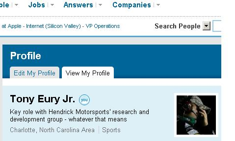 TONY EURY JR. LINKEDIN PROFILE