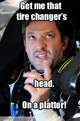 LOL RACE PICS: TONY STEWART IS NOT HAPPY