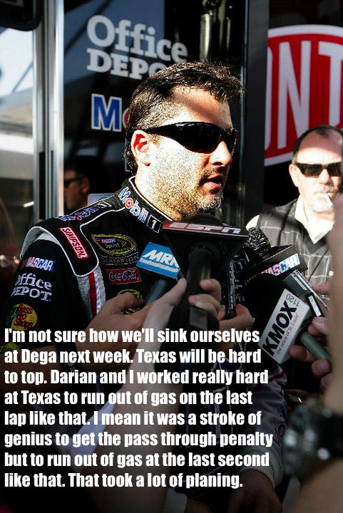 LOL RACE PICS: REST ASSURED, TONY STEWART HAS BIG PLANS FOR SCREWING UP TALLADEGA